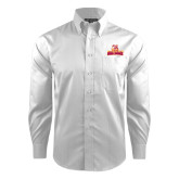 Red House White Dobby Long Sleeve Shirt-Brooklyn College Athletic Mark