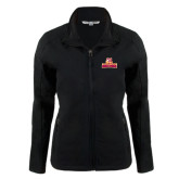 Ladies Black Softshell Jacket-Brooklyn College Athletic Mark