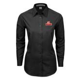 Ladies Black Tonal Pattern Long Sleeve Shirt-Brooklyn College Athletic Mark