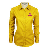 Ladies Gold Twill Button Down Long Sleeve-Brooklyn College Athletic Mark