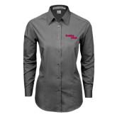 Ladies Grey Tonal Pattern Long Sleeve Shirt-Brooklyn College