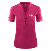 Ladies Ogio Deep Berry Fashion Henley-Brooklyn College