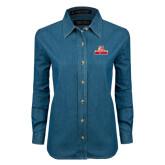 Ladies Denim Long Sleeve Shirt-Brooklyn College Athletic Mark