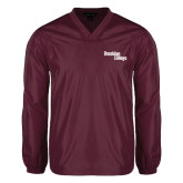 V Neck Maroon Raglan Windshirt-Brooklyn College