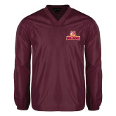V Neck Maroon Raglan Windshirt-Brooklyn College Athletic Mark
