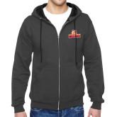 Charcoal Fleece Full Zip Hoodie-Brooklyn College Athletic Mark