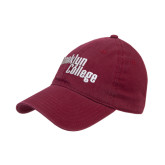 Maroon Twill Unstructured Low Profile Hat-Brooklyn College