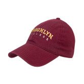 Maroon Twill Unstructured Low Profile Hat-Brooklyn College Arched