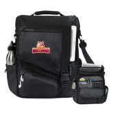 Momentum Black Computer Messenger Bag-Brooklyn College Athletic Mark