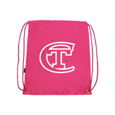 City College of Technology  Pink Drawstring Backpack-Official Logo