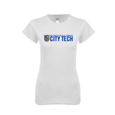 Next Level Ladies SoftStyle Junior Fitted White Tee-City Tech w/Shield