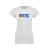 Next Level Ladies SoftStyle Junior Fitted White Tee-New York City College Of Technology w/ Shield