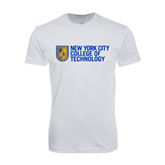 Next Level SoftStyle White T Shirt-New York City College Of Technology w/ Shield