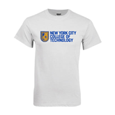 City College of Technology  White T Shirt-New York City College Of Technology w/ Shield