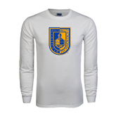 White Long Sleeve T Shirt-CUNY Shield