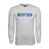 White Long Sleeve T Shirt-City Tech w/Shield