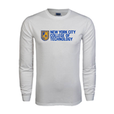 White Long Sleeve T Shirt-New York City College Of Technology w/ Shield
