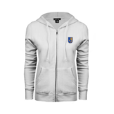 City College of Technology  ENZA Ladies White Fleece Full Zip Hoodie-CUNY Shield