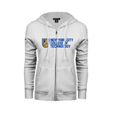 City College of Technology  ENZA Ladies White Fleece Full Zip Hoodie-New York City College Of Technology w/ Shield