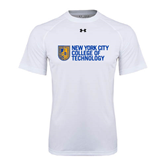 Under Armour White Tech Tee-New York City College Of Technology w/ Shield