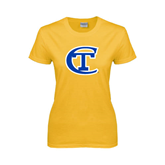 City College of Technology  Ladies Gold T Shirt-Official Logo