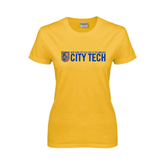 City College of Technology  Ladies Gold T Shirt-City Tech w/Shield