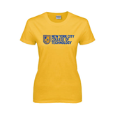 City College of Technology  Ladies Gold T Shirt-New York City College Of Technology w/ Shield