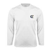 City College of Technology  Performance White Longsleeve Shirt-Official Logo