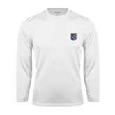 City College of Technology  Performance White Longsleeve Shirt-CUNY Shield