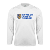 City College of Technology  Performance White Longsleeve Shirt-New York City College Of Technology w/ Shield
