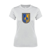 Ladies Syntrel Performance White Tee-CUNY Shield