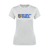 Ladies Syntrel Performance White Tee-New York City College Of Technology w/ Shield