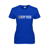 City College of Technology  Ladies Royal T Shirt-City Tech w/Shield