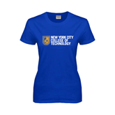 City College of Technology  Ladies Royal T Shirt-New York City College Of Technology w/ Shield