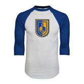 White/Royal Raglan Baseball T Shirt-CUNY Shield