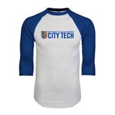White/Royal Raglan Baseball T Shirt-City Tech w/Shield
