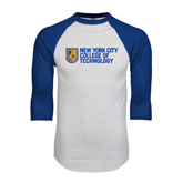 White/Royal Raglan Baseball T Shirt-New York City College Of Technology w/ Shield