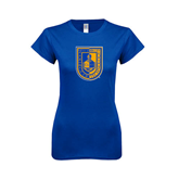 Next Level Ladies SoftStyle Junior Fitted Royal Tee-CUNY Shield
