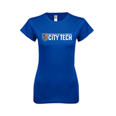 Next Level Ladies SoftStyle Junior Fitted Royal Tee-City Tech w/Shield