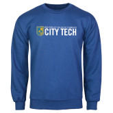 City College of Technology  Royal Fleece Crew-City Tech w/Shield