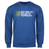 City College of Technology  Royal Fleece Crew-New York City College Of Technology w/ Shield