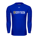 Under Armour Royal Long Sleeve Tech Tee-City Tech w/Shield