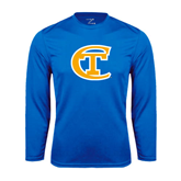 City College of Technology  Performance Royal Longsleeve Shirt-Official Logo
