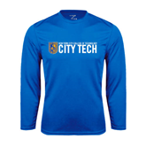 City College of Technology  Performance Royal Longsleeve Shirt-City Tech w/Shield