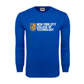 Royal Long Sleeve T Shirt-New York City College Of Technology w/ Shield