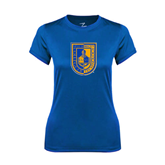 Ladies Syntrel Performance Royal Tee-CUNY Shield
