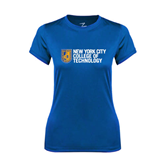 Ladies Syntrel Performance Royal Tee-New York City College Of Technology w/ Shield