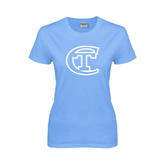 City College of Technology  Ladies Sky Blue T Shirt-Official Logo