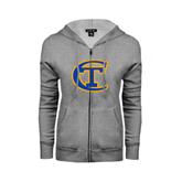 City College of Technology  ENZA Ladies Grey Fleece Full Zip Hoodie-Official Logo