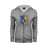 City College of Technology  ENZA Ladies Grey Fleece Full Zip Hoodie-CUNY Shield